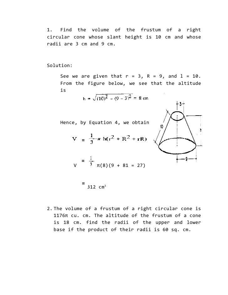 volume of cone problems pdf