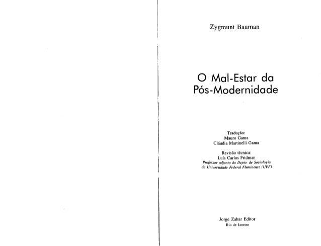Zygmunt bauman o mal estar da pos modernidade.pdf 1
