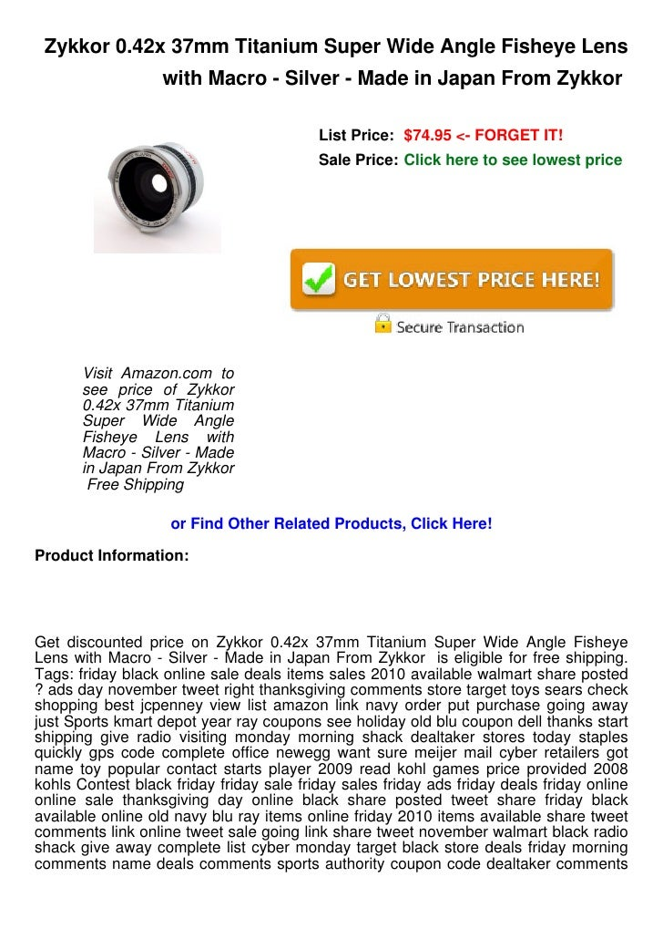 Zykkor 0.42x 37mm Titanium Super Wide Angle Fisheye Lens                   with Macro - Silver - Made in Japan From Zykkor...