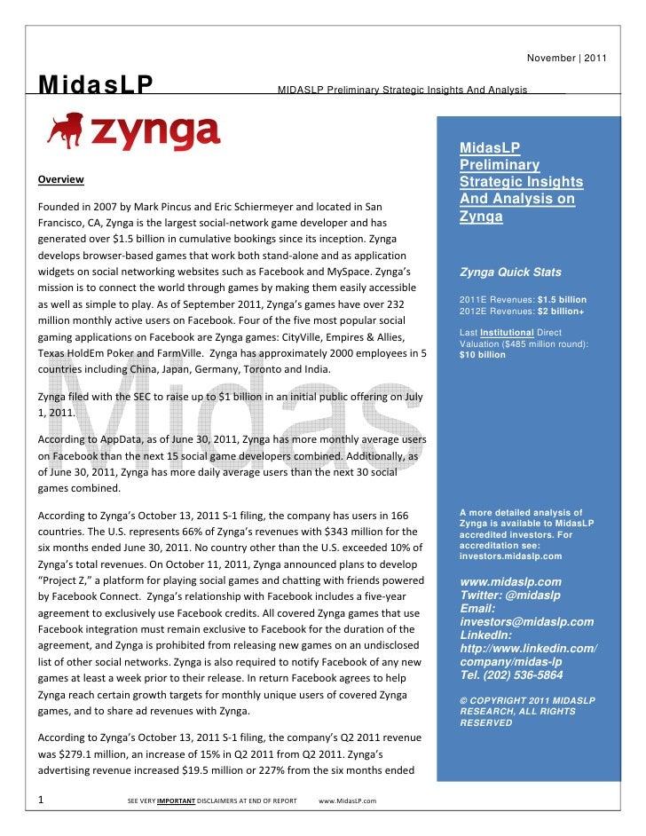 Zynga Strategic Insights Report And Valuation Primer - MidasLP.com