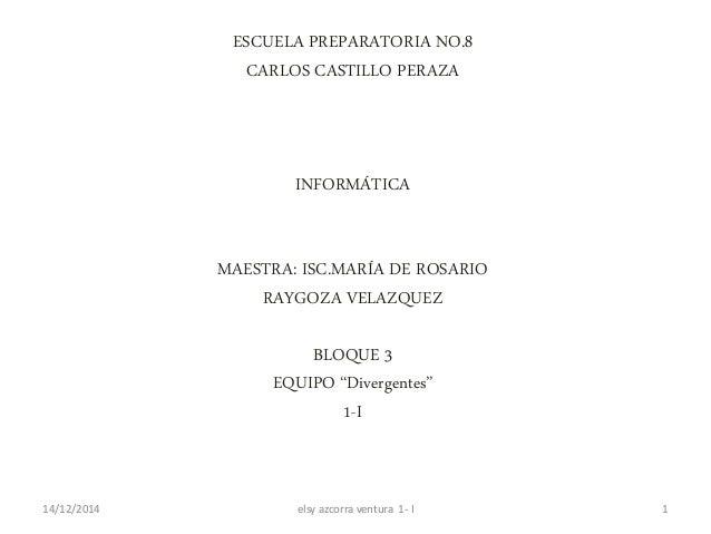 ESCUELA PREPARATORIA NO.8  CARLOS CASTILLO PERAZA  INFORMÁTICA  MAESTRA: ISC.MARÍA DE ROSARIO  RAYGOZA VELAZQUEZ  BLOQUE 3...