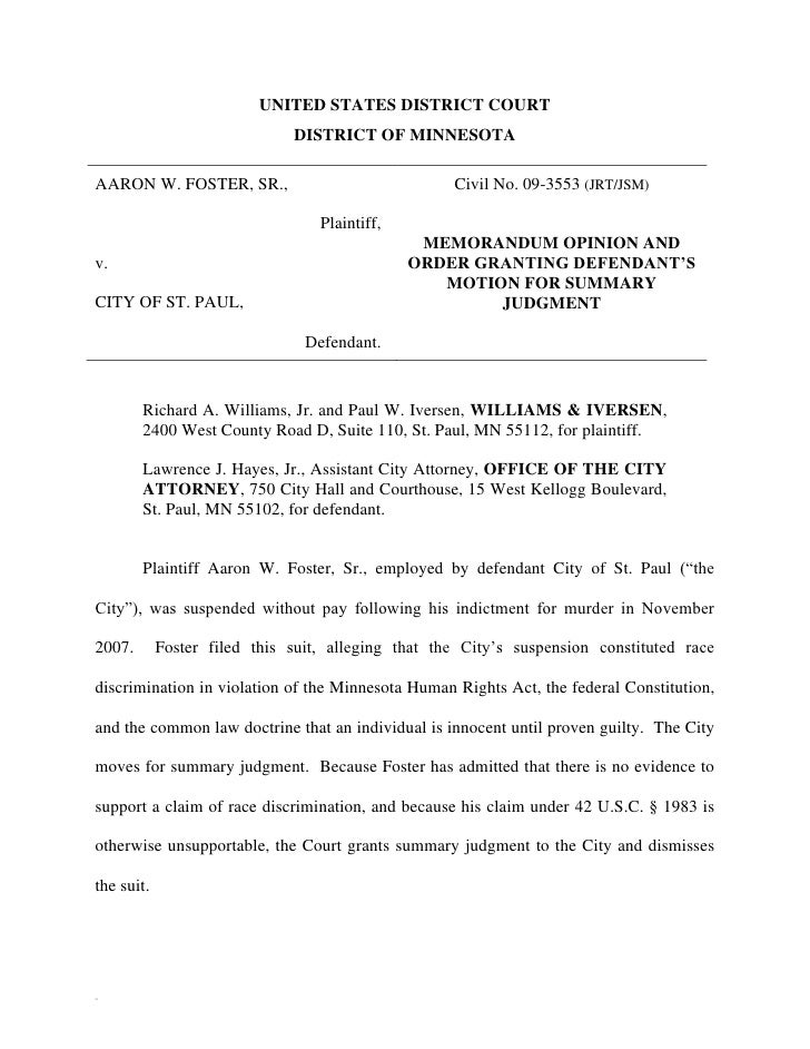 UNITED STATES DISTRICT COURT                              DISTRICT OF MINNESOTAAARON W. FOSTER, SR.,                      ...