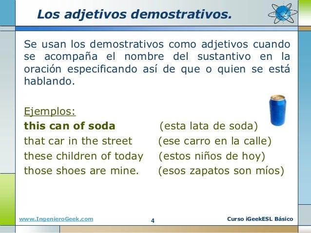 Pronombres y adjetivos en ingles ejemplos