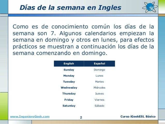 0 11 Dias De La Semana Meses Y Estaciones Del Ano En Ingles