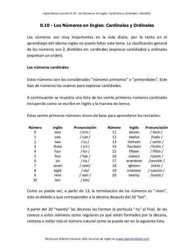 0.10 los números en ingles cardinales y ordinales