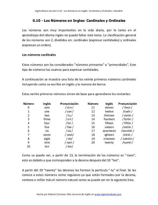Inglés Básico Lección 0.10 - Los Números en Inglés: Cardinales y Ordinales- iGeekESL Hecho por Alberto Carranza. Más recur...