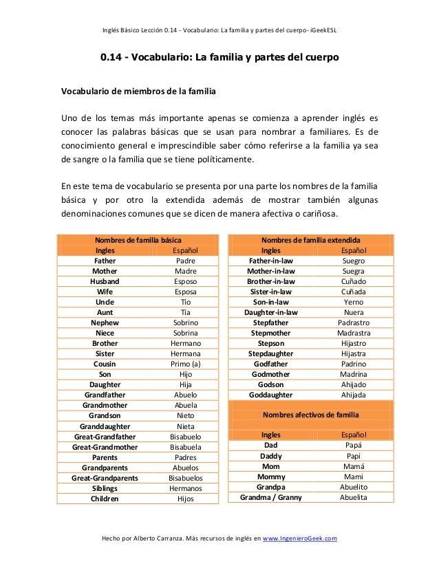 0.14 vocabulario la familia y partes del cuerpo