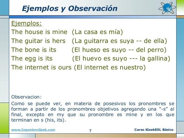 Ejemplos Oraciones Con Adjetivos Posesivos En Ingles Y Español - Varios  Ejemplos