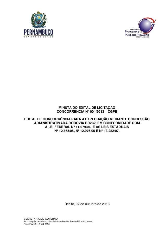 SECRETARIA DO GOVERNO Av. Marquês de Olinda, 150, Bairro do Recife, Recife-PE – 50030-000 Fone/Fax: (81) 3184-7850 MINUTA ...