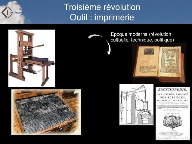 Inter-Ligere SARL - Site: inter-ligere.fr Troisième révolution Outil : imprimerie Epoque moderne (révolution cultuelle, te...
