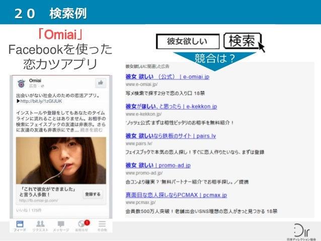 20 検索例 Facebookを使った 恋カツアプリ 彼女欲しい 競合は?