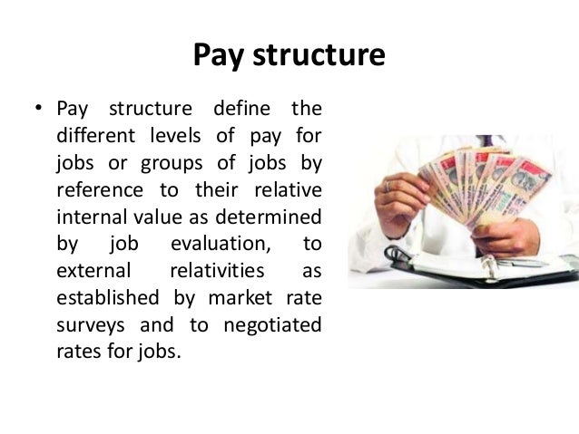 a pay model and defining internal Designing a base pay structure after determining internal equity relationships among jobs, and identifying competitive pay practices in the market place, the next order of business is the design of a pay structure.