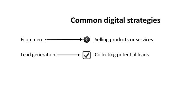 Common digital strategies Ecommerce Lead generation Selling products or services Collecting potential leads