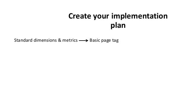 Create your implementation plan Standard dimensions & metrics Basic page tag