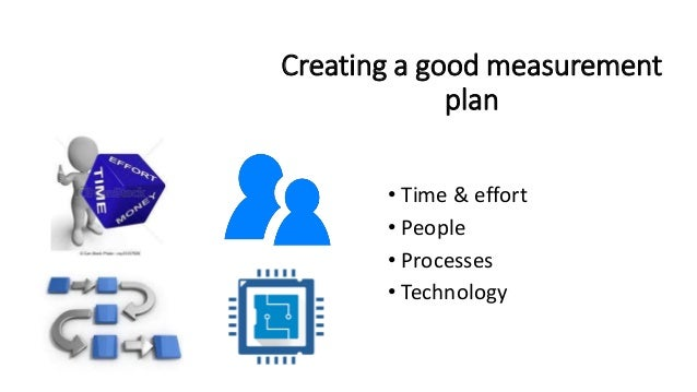 Creating a good measurement plan • Time & effort • People • Processes • Technology