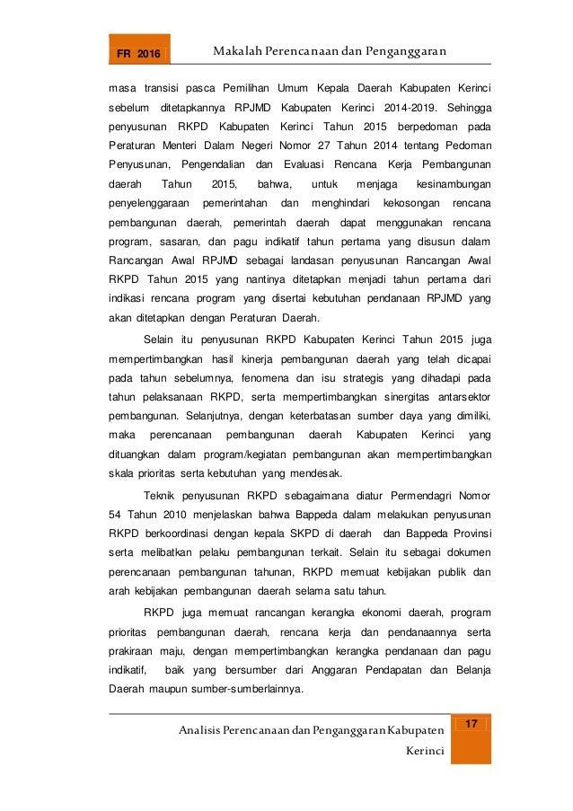 FR 2016 Makalah Perencanaan dan Penganggaran AnalisisPerencanaandanPenganggaranKabupaten Kerinci 17 masa transisi pasca Pe...