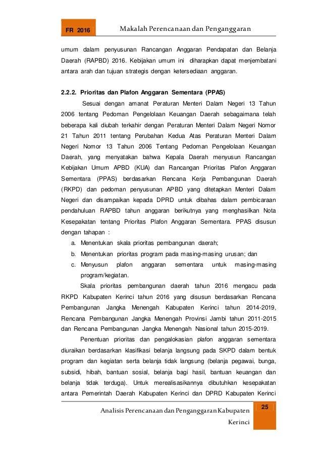 FR 2016 Makalah Perencanaan dan Penganggaran AnalisisPerencanaandanPenganggaranKabupaten Kerinci 25 umum dalam penyusunan ...