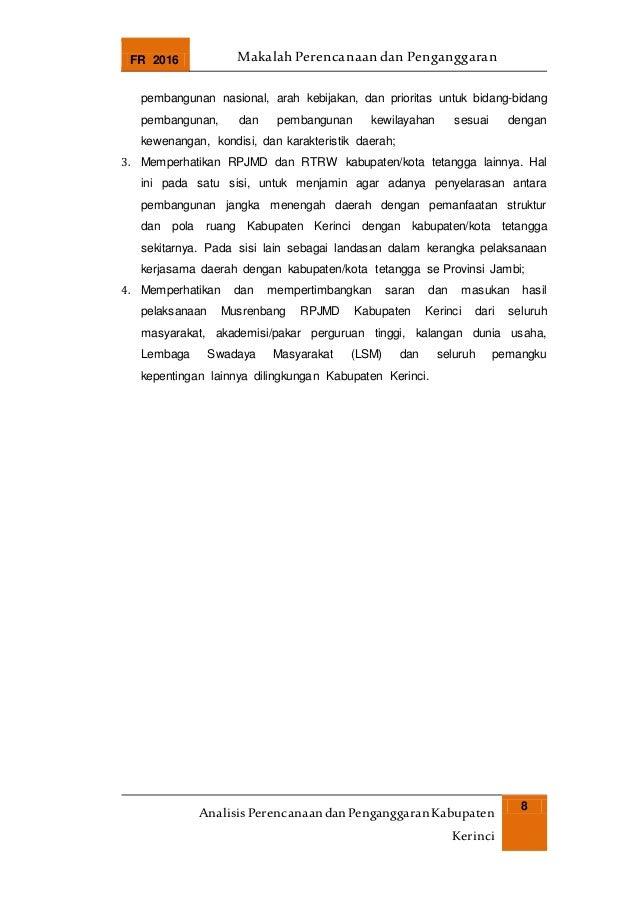 FR 2016 Makalah Perencanaan dan Penganggaran AnalisisPerencanaandanPenganggaranKabupaten Kerinci 8 pembangunan nasional, a...
