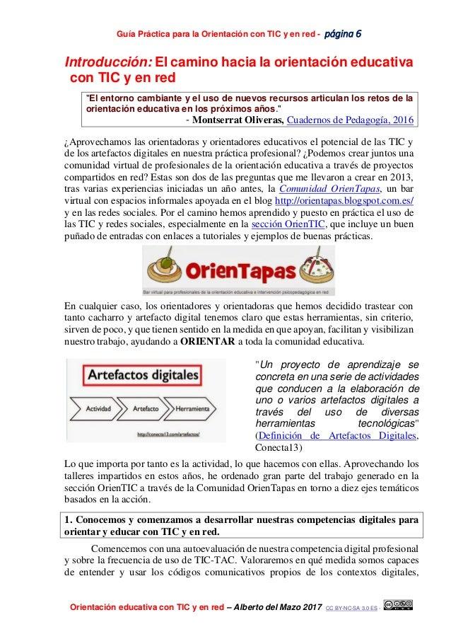 Guía Práctica para la Orientación con TIC y en red - página 6 Orientación educativa con TIC y en red – Alberto del Mazo 20...