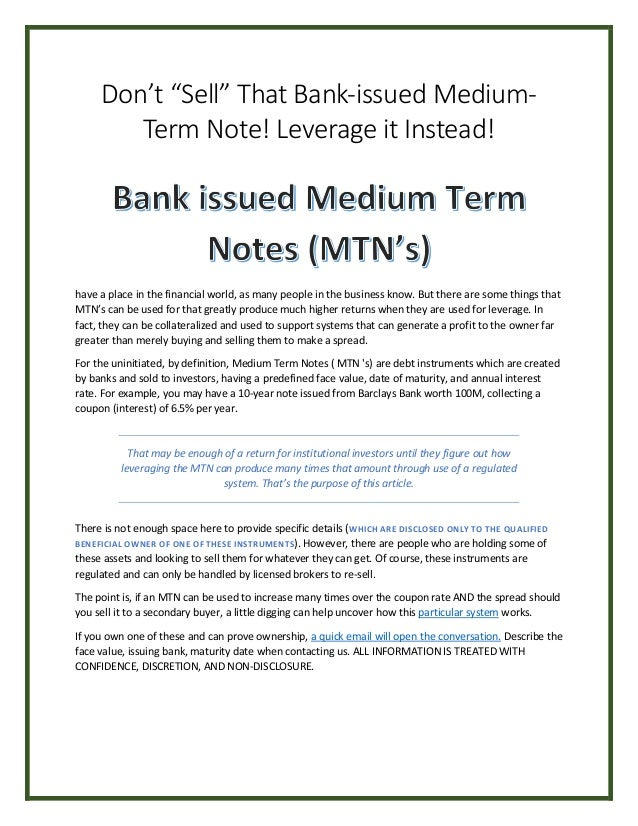 """Don't """"Sell"""" That Bank-issued Medium- Term Note! Leverage it Instead! have a place in the financial world, as many people ..."""