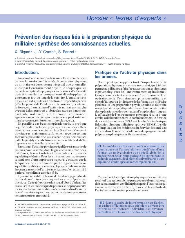 Dossier « textes d'experts »  Prévention des risques liés à la préparation physique du  militaire: synthèse des connaissan...