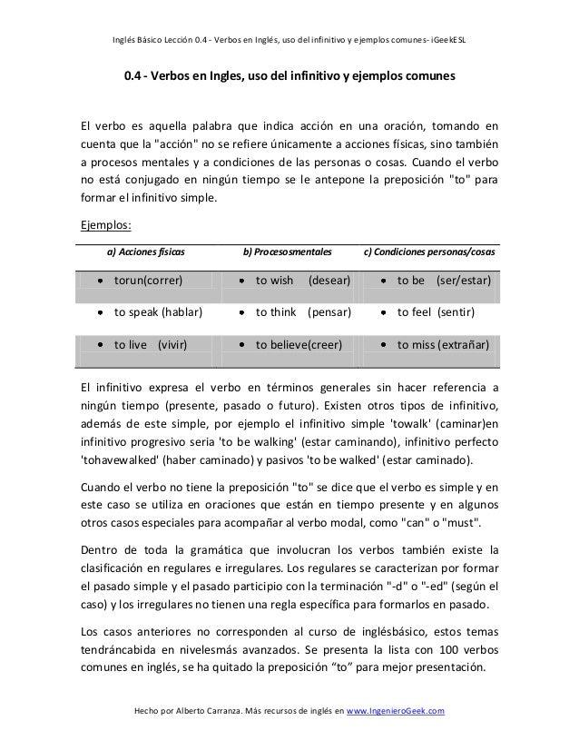 Inglés Básico Lección 0.4 - Verbos en Inglés, uso del infinitivo y ejemplos comunes- iGeekESLHecho por Alberto Carranza. M...