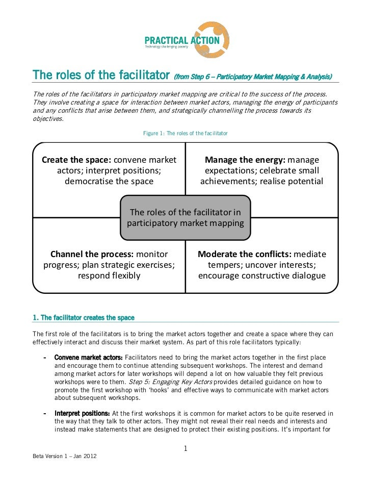 The roles of the facilitator                        (from Step 6 – Participatory Market Mapping & Analysis)The roles of th...