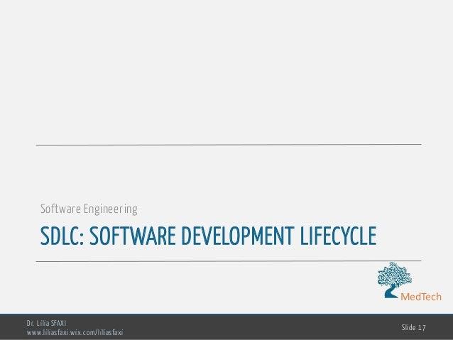 MedTech SDLC: SOFTWARE DEVELOPMENT LIFECYCLE Software Engineering Dr. Lilia SFAXI www.liliasfaxi.wix.com/liliasfaxi Slide ...
