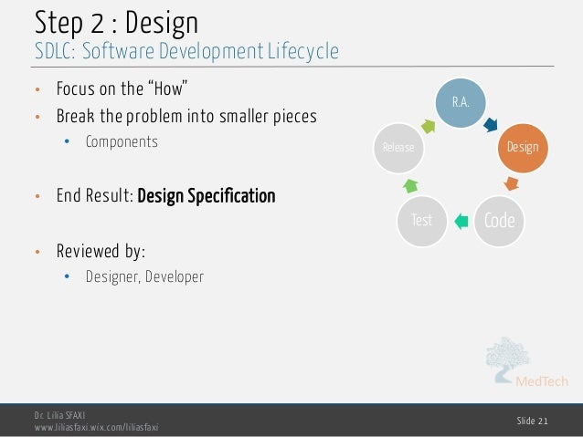 """MedTech Step 2 : Design • Focus on the """"How"""" • Break the problem into smaller pieces • Components • End Result: Design Spe..."""