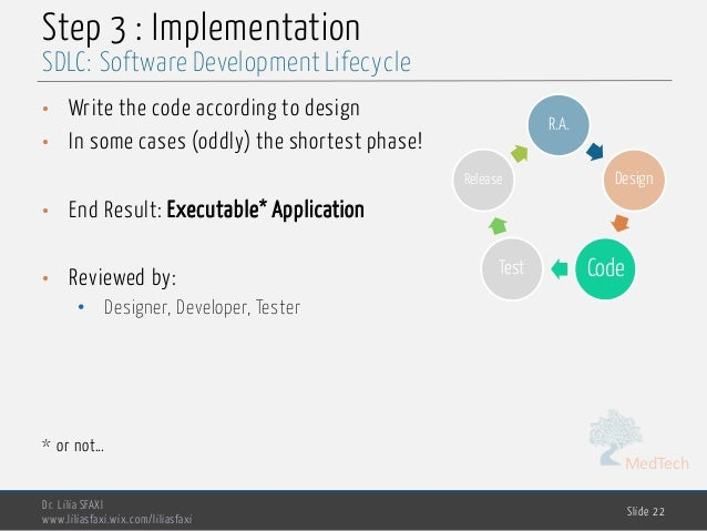 MedTech Step 3 : Implementation • Write the code according to design • In some cases (oddly) the shortest phase! • End Res...