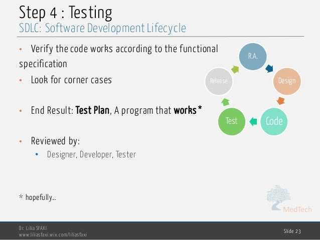 MedTech Step 4 : Testing • Verify the code works according to the functional specification • Look for corner cases • End R...
