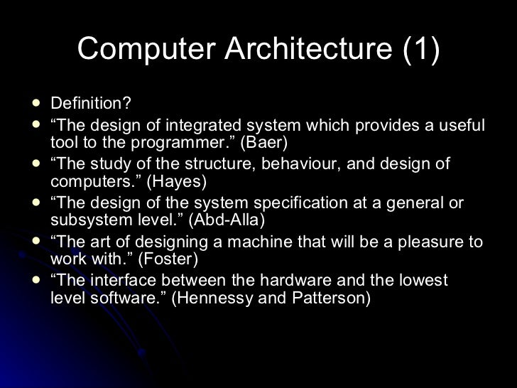 0 introduction to computer architecture