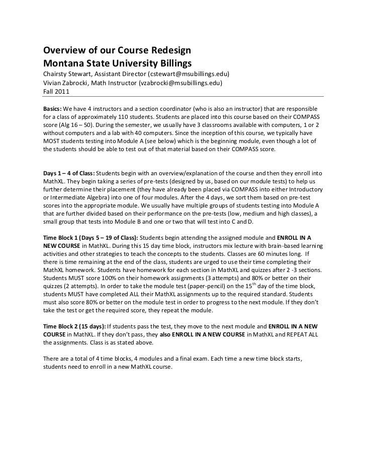 Overview of our Course RedesignMontana State University BillingsChairsty Stewart, Assistant Director (cstewart@msubillings...