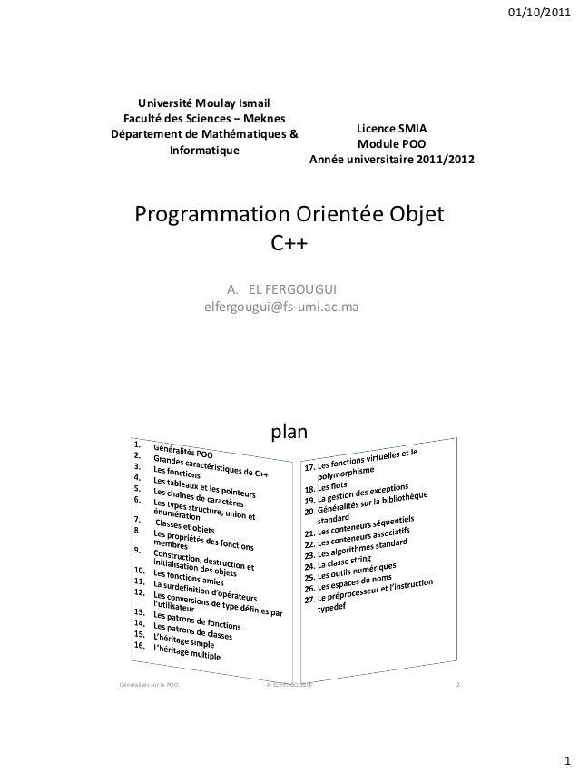 01/10/2011     Université Moulay Ismail  Faculté des Sciences – MeknesDépartement de Mathématiques &                      ...