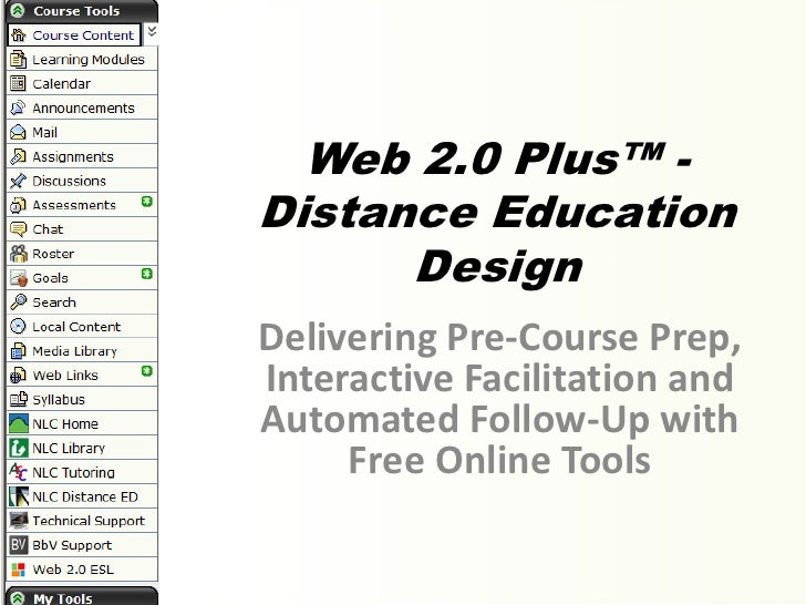 Web 2.0 Plus™ -Distance Education      DesignDelivering Pre-Course Prep,Interactive Facilitation andAutomated Follow-Up wi...