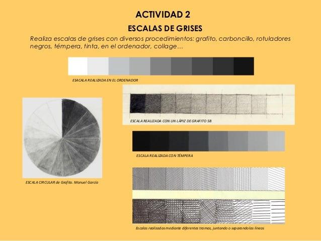 ACTIVIDAD 2 ESCALAS DE GRISES Realiza escalas de grises con diversos procedimientos: grafito, carboncillo, rotuladores neg...
