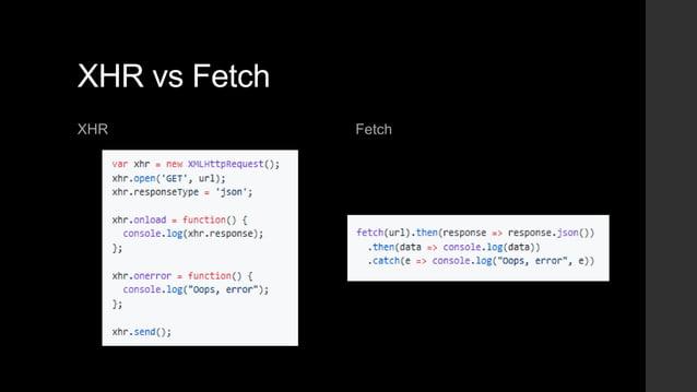 XHR vs Fetch XHR Fetch