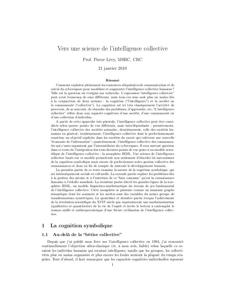 Vers une science de l'intelligence collective                            Prof. Pierre Lévy, MSRC, CRC                     ...