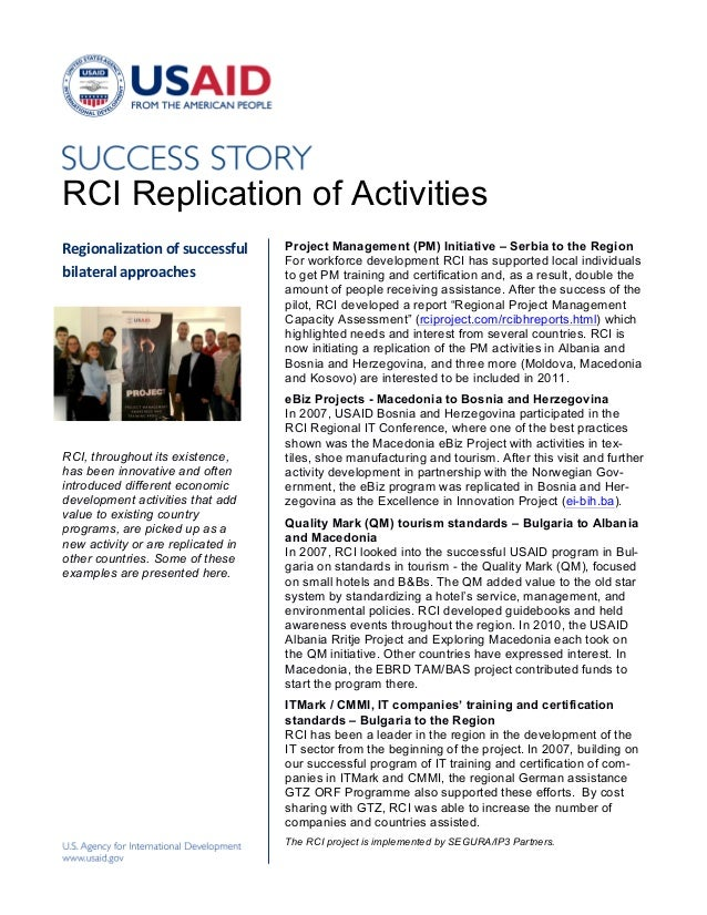 RCI Replication of ActivitiesRegionalization	  of	  successful	     Project Management (PM) Initiative – Serbia to the Reg...