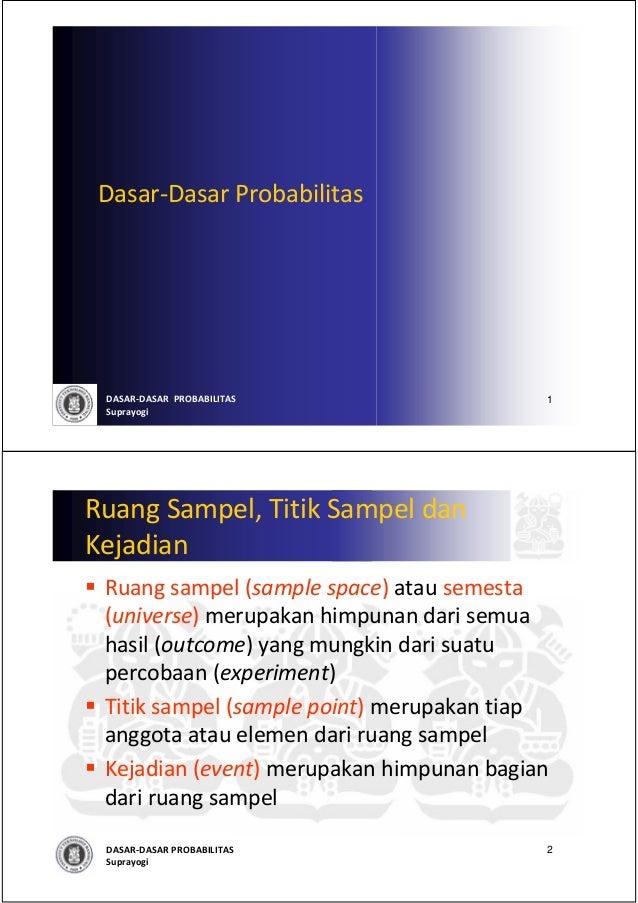 Dasar‐Dasar Probabilitas DASAR‐DASARPROBABILITAS                1 SuprayogiRuang Sampel,Titik Sampel danKejadian Ruang ...