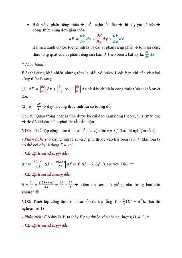 Hai bí kíp thiết lập công thức sai số - ĐHBKHN Slide 2