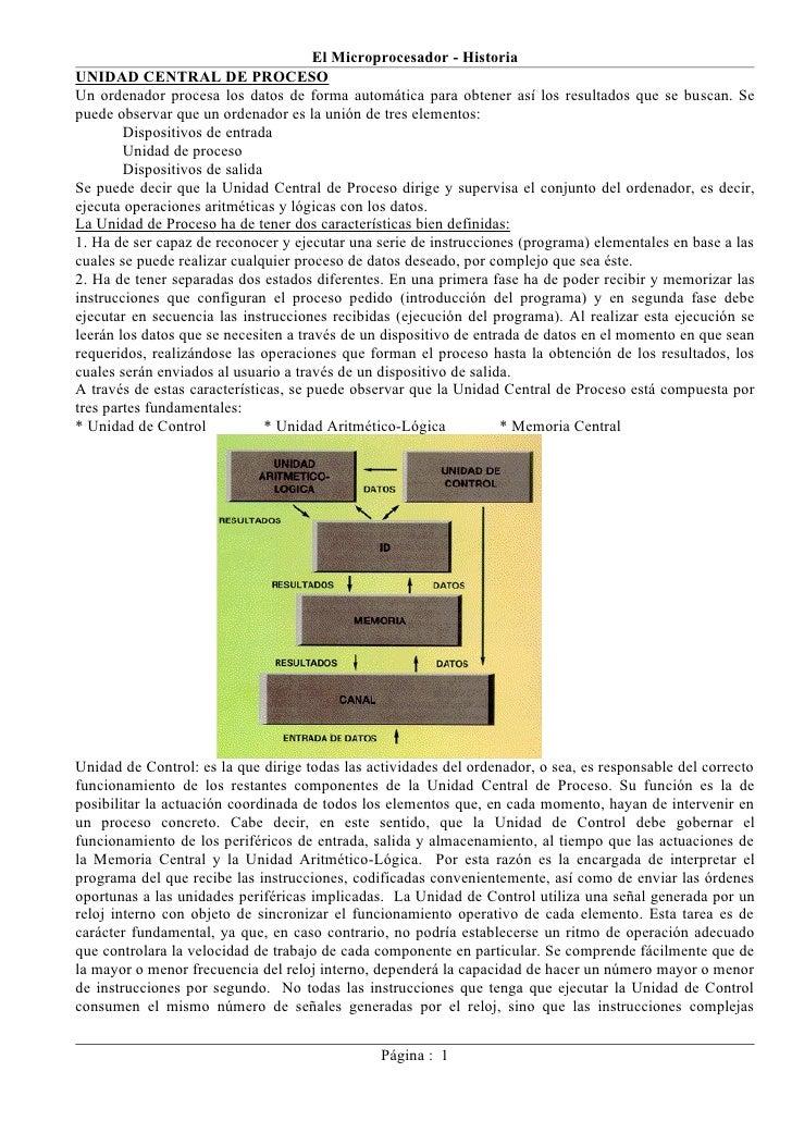 El Microprocesador - Historia UNIDAD CENTRAL DE PROCESO Un ordenador procesa los datos de forma automática para obtener as...