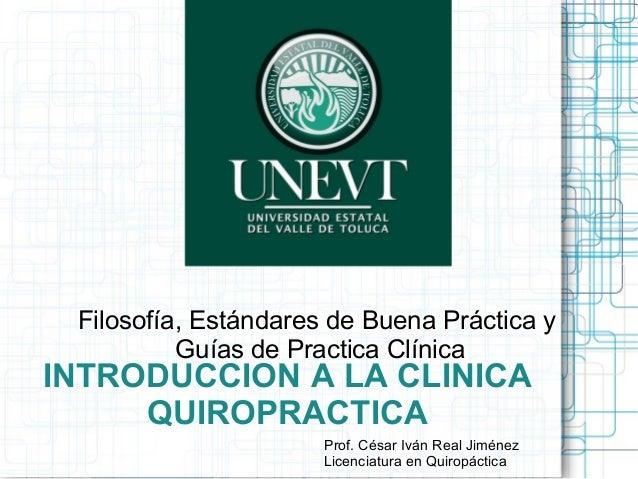 INTRODUCCION A LA CLINICA QUIROPRACTICA Filosofía, Estándares de Buena Práctica y Guías de Practica Clínica Prof. César Iv...