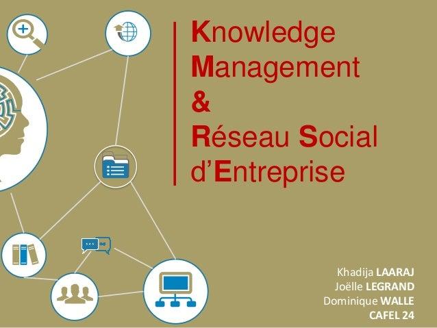 Knowledge Management & Réseau Social d'Entreprise  Khadija LAARAJ Joëlle LEGRAND Dominique WALLE CAFEL 24
