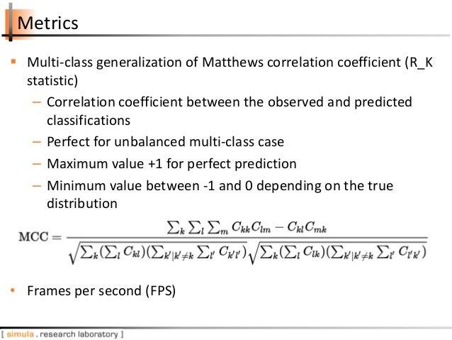 Metrics  Multi-class generalization of Matthews correlation coefficient (R_K statistic) – Correlation coefficient between...