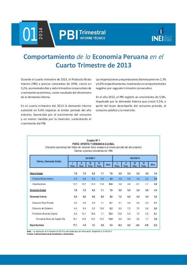 012014 Durante el cuarto trimestre de 2013, el Producto Bruto Interno (PBI) a precios constantes de 1994, creció en 5,2%, ...