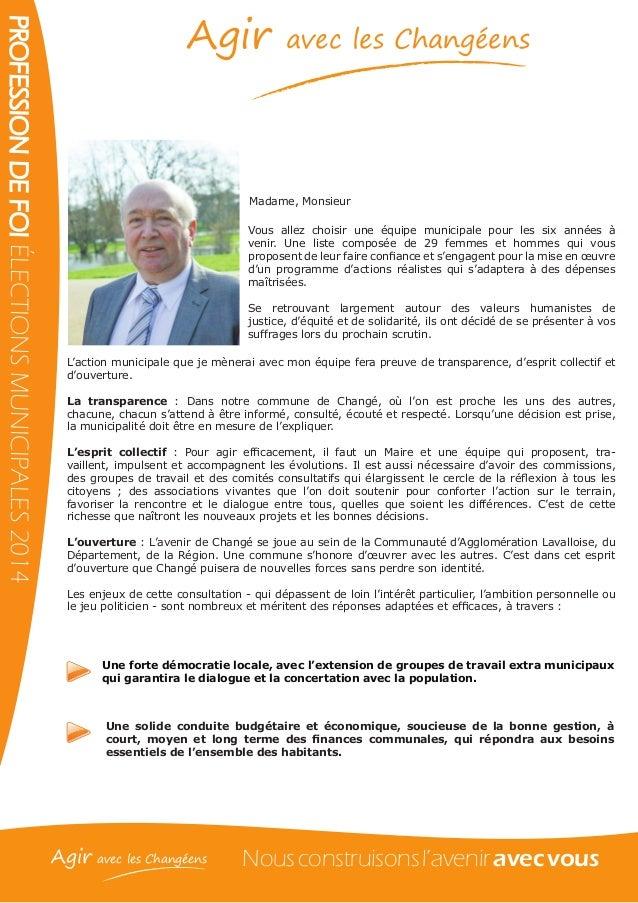Format Profession De Foi Election Municipale Quebec