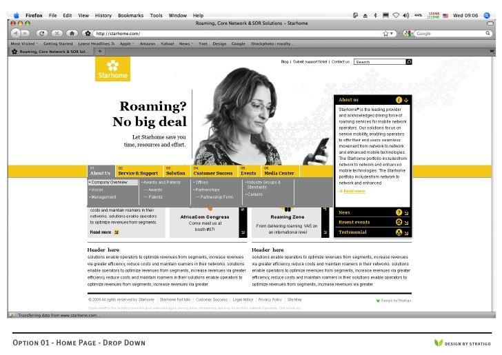 Option 01 - Home Page - Drop Down   DESIGN BY STRATIGO