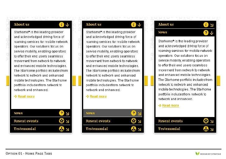 Option 01 - Home Page Tabs   DESIGN BY STRATIGO