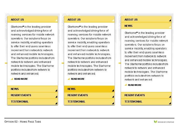 Option 02 - Home Page Tabs   DESIGN BY STRATIGO